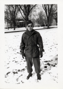 Uncle Paul at Ft. Snelling's top secret Military Intelligence Service Language School, circa Winter 1945.  The old barracks is seen in the background.