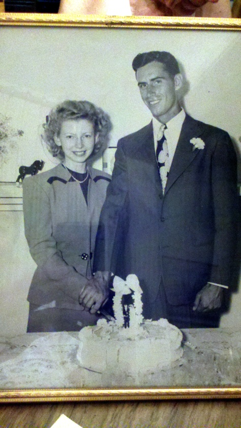 Marge and Mr. Johnson on their wedding day in June 1945.