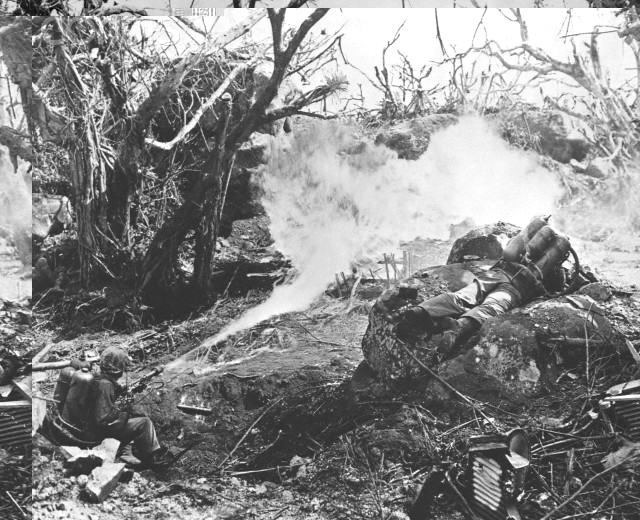 Marines Using Flame Thrower on Iwo Jima