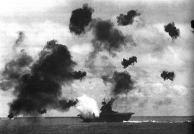 USS Yorktown afire