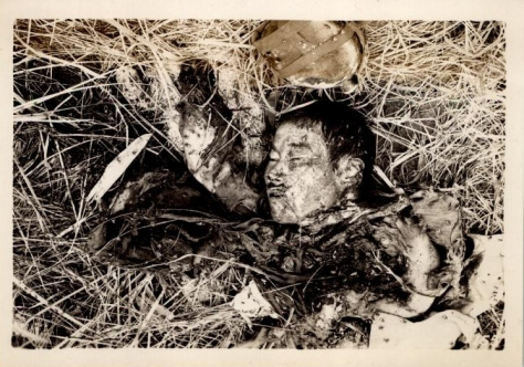 Dead Japanese soldier on Luzon, 1945. US Army photo archives.