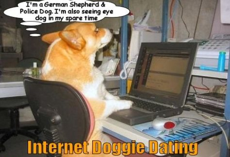 Essence of online dating.  I chose this picture as the corgi is a spittin' image of my daughter's corgi.