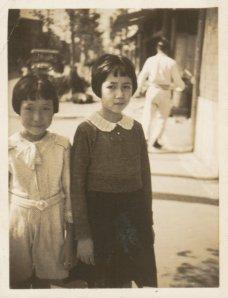 (L to R) Aunt Eiko and mom. Circa 1932, Shimbashi, Tokyo.