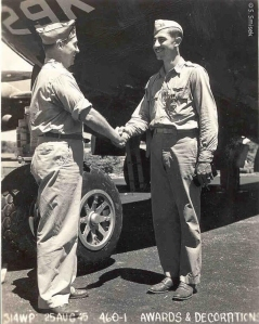 Capt. Ray Smisek receiving his second Distinguished Flying Cross on Guam, August 25, 1945. Incredible bravery indeed. Courtesy S. Smisek.