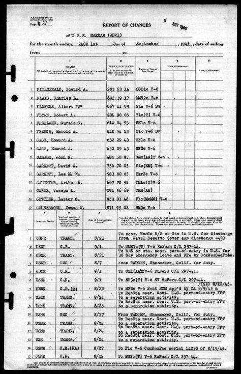 lee whitty garrett Sept 1 1945