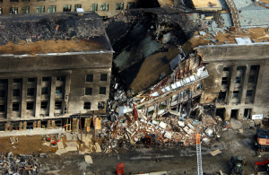 Some of the destruction caused when the high-jacked American Airlines flight slammed into the Pentagon on Sept. 11. The terrorist attack caused extensive damage to the west face of